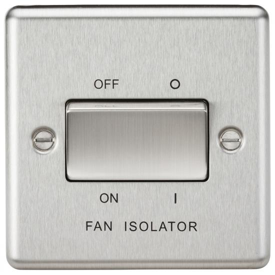 10AX 3 Pole Fan Isolator Switch - Rounded Edge Brushed Chrome
