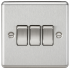 10AX 3G 2 Way Plate Switch - Rounded Edge Brushed Chrome