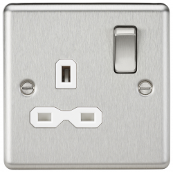 13A 1G DP Switched Socket with White Insert - Rounded Edge Brushed Chrome