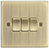10AX 3G 2 Way Plate Switch - Square Edge Antique Brass