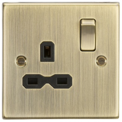 13A 1G DP Switched Socket with Black Insert - Square Edge Antique Brass