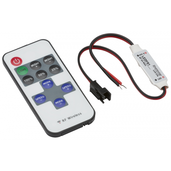 12V / 24V In-line RF Controller and Remote - Dimmer Single Colour