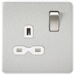 Screwless 13A 1G DP switched Socket - Brushed Chrome with white Insert
