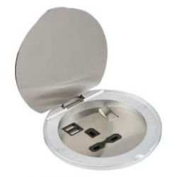 13A 1G Recess Switched Socket with Dual USB Charger (2.4A) - Stainless Steel with black insert