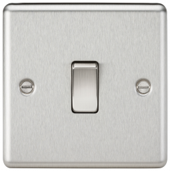 10AX 1G 2 Way Plate Switch - Rounded Edge Brushed Chrome
