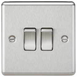 10AX 2G 2 Way Plate Switch - Rounded Edge Brushed Chrome