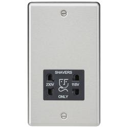 115-230V Dual Voltage Shaver Socket with Black Insert - Rounded Edge Brushed Chrome