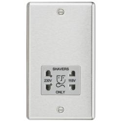 115-230V Dual Voltage Shaver Socket with Grey Insert - Rounded Edge Brushed Chrome