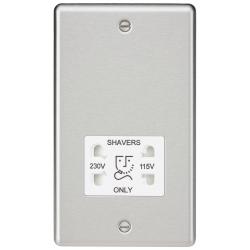 115-230V Dual Voltage Shaver Socket with White Insert - Rounded Edge Brushed Chrome