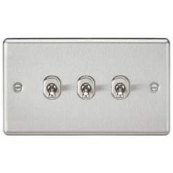 10AX 3G 2 Way Toggle Switch - Rounded Brushed Chrome Finish