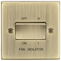 10AX 3 Pole Fan Isolator Switch - Square Edge Antique Brass