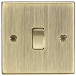 10AX 1G 2-Way Plate Switch - Square Edge Antique Brass