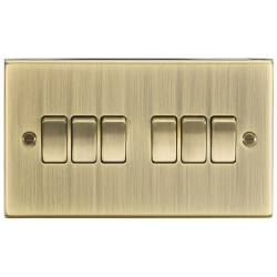 10AX 6G 2 Way Plate Switch - Square Edge Antique Brass