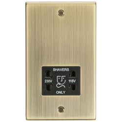 115-230V Dual Voltage Shaver Socket with Black Insert - Square Edge Antique Brass