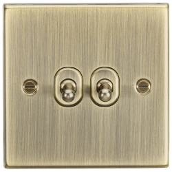 10AX 2G 2 Way Toggle Switch - Square Edge Antique Brass