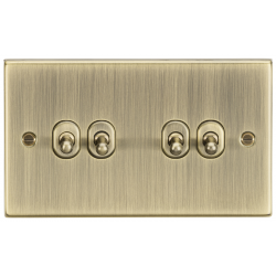 10AX 4G 2 Way Toggle Switch - Square Edge Antique Brass