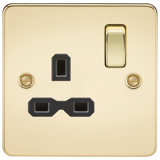 Flat plate 13A 1G DP switched socket - polished brass with black insert
