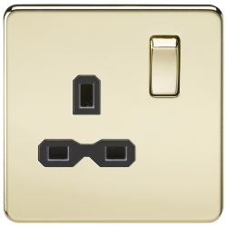 Screwless 13A 1G DP switched socket - polished brass with black insert