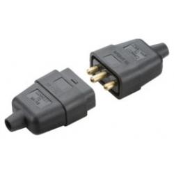 10A 3 pin mains connector - black